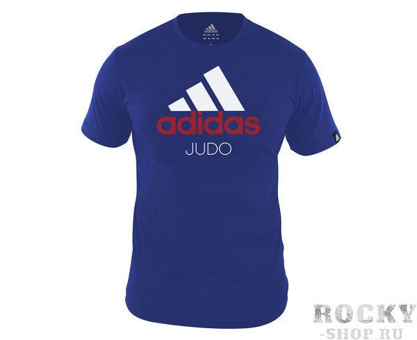 Футболка Community T-Shirt Judo, сине-белая AdidasФутболки / Майки / Поло<br>Стильная футболкаиз эксклюзивной линейкиCOMBAT SPORT &amp; MARTIAL ARTS. Классика спортивного стиля, которая никогда не выходит из моды. Изготовленаиз ткани climalite®, которая эффективно отводит влагу от тела во время тренировки. Скрупным контрастным логотипом adidas на лицевой стороне и надписью JUDO. Удобный рифленый ворот. Тонкий хлопковый трикотаж. Эксклюзивная линейкаCOMBAT SPORT &amp; MARTIAL ARTS Рифленый круглый ворот Ткань сlimalite® отводит влагу с поверхности кожи Состав: 100% хлопок Классический крой Крупный контрастный логотип adidas на лицевой стороне Надпись JUDO<br><br>Размер INT: M
