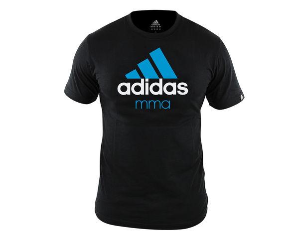 Футболка Community T-Shirt MMA, черно-синяя AdidasФутболки<br>Стильная футболкаиз эксклюзивной линейкиCOMBAT SPORT &amp; MARTIAL ARTS. Классика спортивного стиля, которая никогда не выходит из моды. Изготовленаиз ткани climalite®, которая эффективно отводит влагу от тела во время тренировки. Скрупным контрастным логотипом adidas на лицевой стороне и надписью MMA. Удобный рифленый ворот. Тонкий хлопковый трикотаж. Эксклюзивная линейкаCOMBAT SPORT &amp; MARTIAL ARTS Рифленый круглый ворот Ткань сlimalite® отводит влагу с поверхности кожи Состав: 100% хлопок Классический крой Крупный контрастный логотип adidas на лицевой стороне Надпись MMA<br><br>Размер INT: M