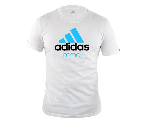 Футболка Community T-Shirt MMA, бело-синяя AdidasФутболки<br>Стильная футболкаиз эксклюзивной линейкиCOMBAT SPORT &amp; MARTIAL ARTS. Классика спортивного стиля, которая никогда не выходит из моды. Изготовленаиз ткани climalite®, которая эффективно отводит влагу от тела во время тренировки. Скрупным контрастным логотипом adidas на лицевой стороне и надписью MMA. Удобный рифленый ворот. Тонкий хлопковый трикотаж. Эксклюзивная линейкаCOMBAT SPORT &amp; MARTIAL ARTS Рифленый круглый ворот Ткань сlimalite® отводит влагу с поверхности кожи Состав: 100% хлопок Классический крой Крупный контрастный логотип adidas на лицевой стороне Надпись MMA<br><br>Размер INT: M