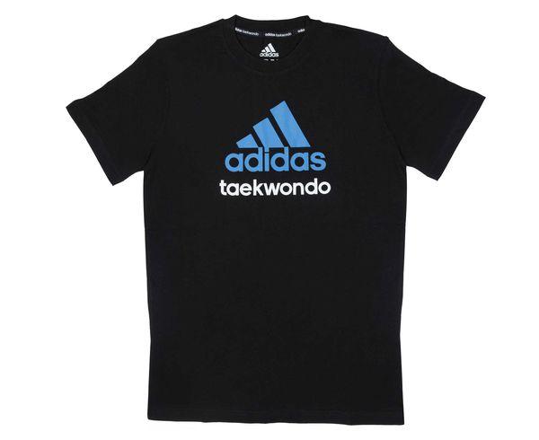 Футболка Community T-Shirt Taekwondo, черно-синяя AdidasФутболки<br>Стильная футболкаиз эксклюзивной линейкиCOMBAT SPORT &amp; MARTIAL ARTS. Классика спортивного стиля, которая никогда не выходит из моды. Изготовленаиз ткани climalite®, которая эффективно отводит влагу от тела во время тренировки. Скрупным контрастным логотипом adidas на лицевой стороне и надписью TAEKWONDO. Удобный рифленый ворот. Тонкий хлопковый трикотаж. Эксклюзивная линейкаCOMBAT SPORT &amp; MARTIAL ARTS Рифленый круглый ворот Ткань сlimalite® отводит влагу с поверхности кожи Состав: 100% хлопок Классический крой Крупный контрастный логотип adidas на лицевой стороне Надпись TAEKWONDO<br><br>Размер INT: L