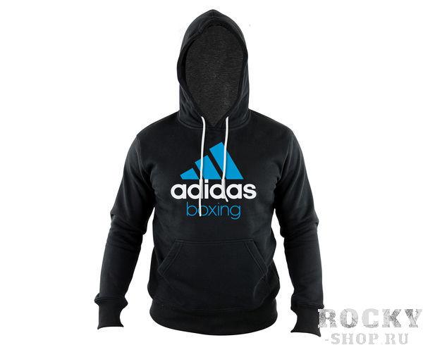 Купить Толстовка с капюшоном (Худи) Community Hoody Boxing черно-синяя Adidas adiCHB (арт. 7757)