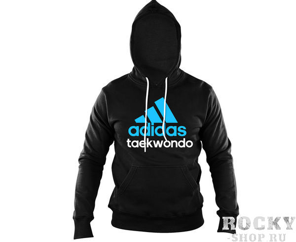 Толстовка с капюшоном (Худи) Community Hoody Taekwondo черно-синяя AdidasТолстовки / Олимпийки<br>Теплая толстовка с капюшоном, которая согреет во время тренировок в прохладную погоду. Эксклюзивная линейка COMBAT SPORT &amp; MARTIAL ARTS.Специально разработанный adidas состав приятен на ощупь и прекрасно держит тепло.Свободный крой обеспечиваетсвободудвижения при тренировке.В кармане кенгуру удобно хранить мелкие предметы. Высокая доля хлопка обеспечивает повышенную износостойкость материала. Логотип adidas и надпись TAEKWONDO. Толстовку можно носить как на тренировках, так и в качестве повседневной одежды. Эксклюзивная линейкаCOMBAT SPORT &amp; MARTIAL ARTS Материал angeraut Регулируемый капюшон со шнурком Рифленые манжеты и нижний край Крупный контрастный логотип adidas на лицевой стороне Карман кенгуру Состав: 80% хлопок, 20% полиэстер<br>