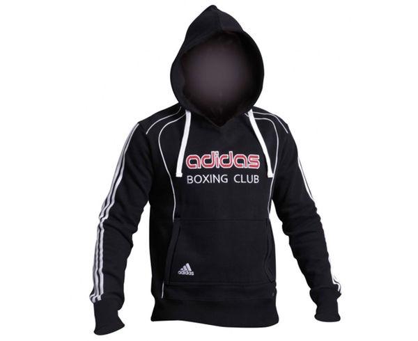 Толстовка с капюшоном (Худи) Hoody Sweat Boxing Club, черная AdidasТолстовки / Олимпийки<br>Теплая толстовка с капюшоном, которая согреет во время тренировок в прохладную погоду. Эксклюзивная линейка COMBAT SPORT &amp; MARTIAL ARTS. Специально разработанный adidas состав приятен на ощупь и прекрасно держит тепло. Свободный крой обеспечиваетсвободудвижения при тренировке. В кармане кенгуру удобно хранить мелкие предметы. Высокая доля хлопка обеспечивает повышенную износостойкость материала. Логотип adidas и надпись BOXING CLUB. Толстовку можно носить как на тренировках, так и в качестве повседневной одежды. Эксклюзивная линейкаCOMBAT SPORT &amp; MARTIAL ARTS Материал angeraut Регулируемый капюшон со шнурком Рифленые манжеты и нижний край Крупный контрастный логотип adidas на лицевой стороне Карман кенгуру Состав: 80% хлопок, 20% полиэстер<br><br>Размер INT: L