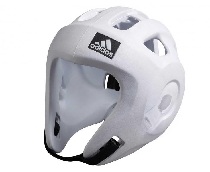 Шлем для единоборств Adizero (одобрен WAKO и WTF), белый AdidasЭкипировка для кикбоксинга<br>Adidas Adizero - это однозначно лучший шлем в своем классе. Он предназначен для таких боевых искусств как бокс,тхэвондо (одобрен WTF (Всемирная федерация тхэквондо), кик-боксинг (одобрен WAKO Всемирная ассоциация кикбоксинга), а так же для других видов контактных единоборств, где требуется гарантированная защита головы с непревзойденным удобством и комфортом.Изготовлен из ультра легкого и супер прочного амортизирующего, резинового материала по технологии adidas. Поставляется с WTF + WAKO комплектом ремней для подбородка и спины для безопасной посадки. Одобрен WAKO и WTFСамый легкий шлеме в своем классеПолностью литой корпус из инновационного материала.Инновационный и эргономичный дизайнОтверстия для вентиляции в верхней и боковых частях шлема.Отлично амортизацияПростая и быстрая настройка ремней с нейлоновой липучкой для подбородка и спины.<br>