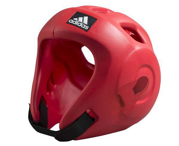 Шлем для единоборств Adizero (одобрен WAKO и WTF), красный AdidasЭкипировка для кикбоксинга<br>Adidas Adizero - это однозначно лучший шлем в своем классе. Он предназначен для таких боевых искусств как бокс,тхэвондо (одобрен WTF (Всемирная федерация тхэквондо), кик-боксинг (одобрен WAKO Всемирная ассоциация кикбоксинга), а так же для других видов контактных единоборств, где требуется гарантированная защита головы с непревзойденным удобством и комфортом. Изготовлен из ультра легкого и супер прочного амортизирующего, резинового материала по технологии adidas. Поставляется с WTF + WAKO комплектом ремней для подбородка и спины для безопасной посадки. Одобрен WAKO и WTFСамый легкий шлеме в своем классеПолностью литой корпус из инновационного материала. Инновационный и эргономичный дизайнОтверстия для вентиляции в верхней и боковых частях шлема. Отлично амортизацияПростая и быстрая настройка ремней с нейлоновой липучкой для подбородка и спины.<br><br>Размер: XL