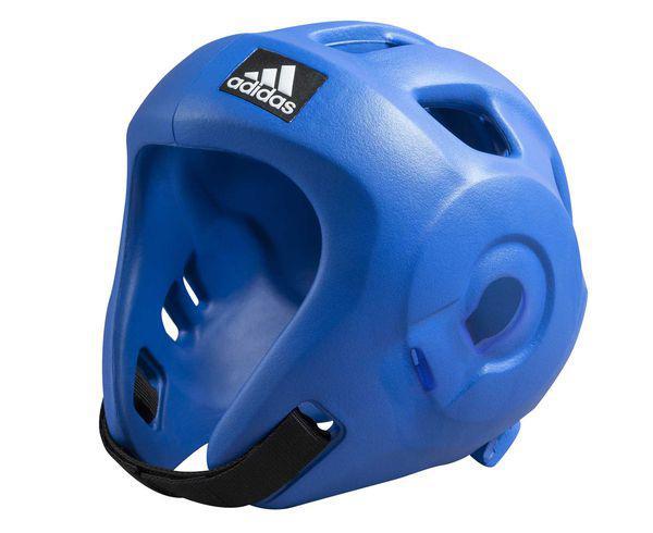 Шлем для единоборств Adizero (одобрен WAKO и WTF), синий AdidasЭкипировка для кикбоксинга<br>Adidas Adizero - это однозначно лучший шлем в своем классе. Он предназначен для таких боевых искусств как бокс,тхэвондо (одобрен WTF (Всемирная федерация тхэквондо), кик-боксинг (одобрен WAKO Всемирная ассоциация кикбоксинга), а так же для других видов контактных единоборств, где требуется гарантированная защита головы с непревзойденным удобством и комфортом. Изготовлен из ультра легкого и супер прочного амортизирующего, резинового материала по технологии adidas. Поставляется с WTF + WAKO комплектом ремней для подбородка и спины для безопасной посадки. Одобрен WAKO и WTFСамый легкий шлеме в своем классеПолностью литой корпус из инновационного материала. Инновационный и эргономичный дизайнОтверстия для вентиляции в верхней и боковых частях шлема. Отлично амортизацияПростая и быстрая настройка ремней с нейлоновой липучкой для подбородка и спины.<br><br>Размер: XL