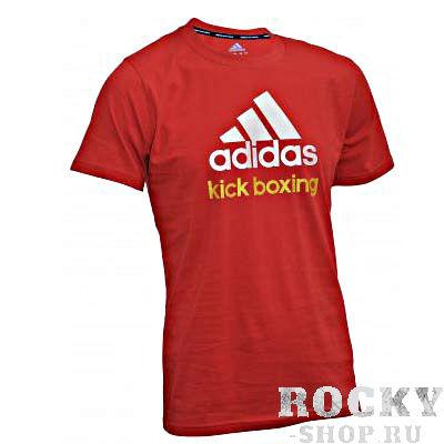 Купить Футболка Community T-Shirt Kickboxing красно-белая Adidas adiCTKB