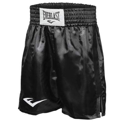 Шорты боксерские атласные Everlast, Черные EverlastШорты для бокса<br>Трусы боксерские сделаны из первоклассного атласа. Широкий пояс гарантирует плотное облегание вокруг талии. Длина выше колена, высокие разрезы обеспечивают свободу движения боксера.<br><br>Размер INT: S