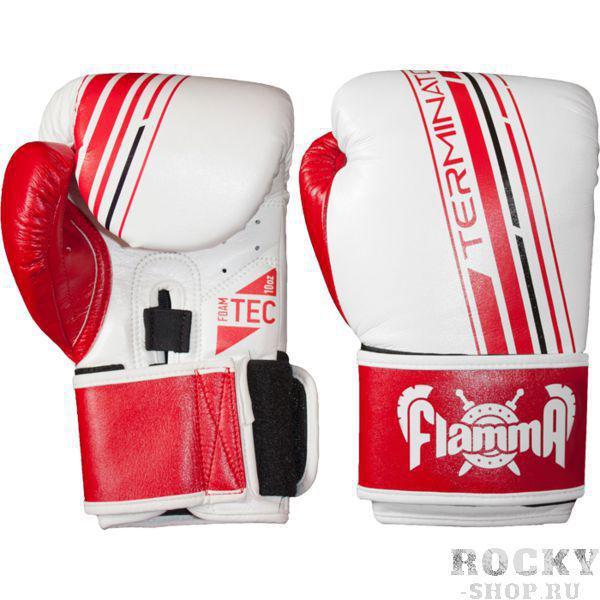 Боксерские перчатки Flamma Terminator, 10 oz FlammaБоксерские перчатки<br>Боксерские перчатки Flamma Terminator. Новинка из премиальной серии TERMINATOR отличается великолепным качеством и ярким привлекательным дизайном. Дает новый уровень защиты Вам и Вашему партнеру во время тренировки. Отлично подходит для занятий ММА, тайским боксом, допускается работа на снарядах. — двойная липучка для точной подгонки по руке— эргономичная форма большого пальца уменьшает нагрузку на него и на запястье— цельный литой вкладыш FOAM-TEC для поглощения ударов— легкий и удобный хват— впитывающая пот подкладка— изготовлены из MicroFiber-TEC кожи нового поколения.<br>