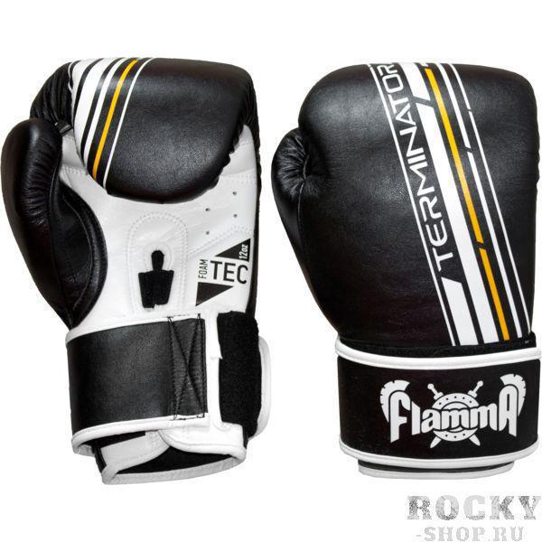 Боксерские перчатки Flamma Terminator, 10 oz FlammaБоксерские перчатки<br>Боксерские перчатки Flamma Terminator.Новинка из премиальной серии TERMINATOR отличается великолепным качеством и ярким привлекательным дизайном.Дает новый уровень защиты Вам и Вашему партнеру во время тренировки.Отлично подходит для занятий ММА, тайским боксом, допускается работа на снарядах.— двойная липучка для точной подгонки по руке— эргономичная форма большого пальца уменьшает нагрузку на него и на запястье— цельный литой вкладыш FOAM-TEC для поглощения ударов— легкий и удобный хват— впитывающая пот подкладка— изготовлены из MicroFiber-TEC кожи нового поколения.<br>