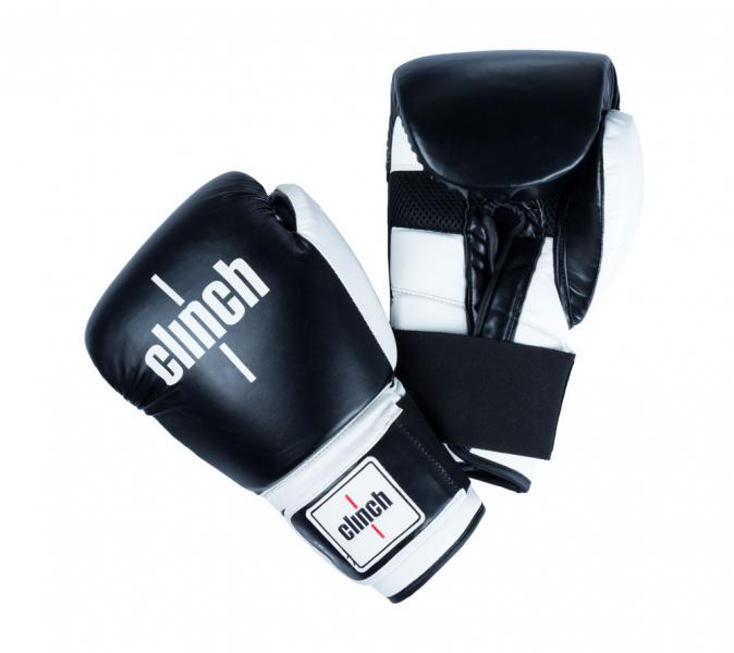 Перчатки боксерские Clinch Punch черно-белые, 14 унций Clinch GearБоксерские перчатки<br>Боксереские перчатки Clinch Punch. Изготовлены из высококачественного, прочного эластичного полиуретана. Многослойный пенный наполнитель обеспечивает улучшенную анатомическую посадку, комфорт и высокий уровень защиты. Широкая резинка позволяет оптимально фиксировать запястье. Цвет: Черно/белый, Размер: 10-16 oz.<br><br>Цвет: черно-белые