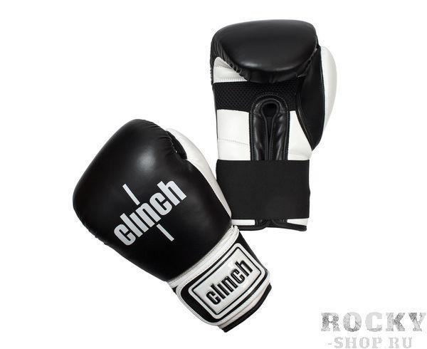 Перчатки боксерские Clinch Punch черно-белые, 16 унций Clinch GearБоксерские перчатки<br>Боксереские перчатки Clinch Punch. Изготовлены из высококачественного, прочного эластичного полиуретана. Многослойный пенный наполнитель обеспечивает улучшенную анатомическую посадку, комфорт и высокий уровень защиты. Широкая резинка позволяет оптимально фиксировать запястье. Цвет: Черно/белый, Размер: 10-16 oz.<br>