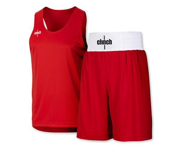 Форма боксерская Clinch, красная Clinch GearШорты для бокса<br>Боксерская форма Clinch(комплект). Материал: 100% полиэстер. Специально разработанная мягкая и легкая ткань. Эластичный пояс(в области талии). Улучшенный комфорт и свобода передвежения;<br><br>Размер INT: синяя