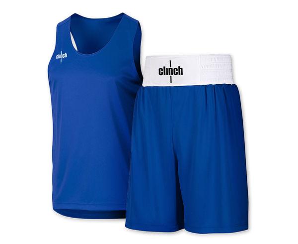 Форма боксерская Clinch, синяя Clinch GearШорты для бокса<br>Боксерская форма Clinch(комплект). Материал: 100% полиэстер. Специально разработанная мягкая и легкая ткань. Эластичный пояс(в области талии). Улучшенный комфорт и свобода передвежения;<br><br>Размер INT: XS (40-42)