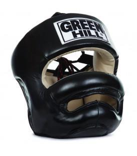 Шлем боксерский Green Hill PROFESSIONAL, Черный Green HillБоксерские шлемы<br>Отличный боксерский шлем с защитой носа (бампером). Дополнительная защита подбородка. Внутренняя часть выполнена из замши. Липучки сзади и шнуровка сверху, позволяют подогнать шлем по голове. Натуральная кожа. Диаметр:S– 18 см, длина окружности по лбу 56 см;М – 19 см,длина окружности по лбу 59 см;L– 20 см, длина окружности по лбу 62 см;XL– 21 см, длина окружности по лбу 65 см.<br><br>Размер: XL