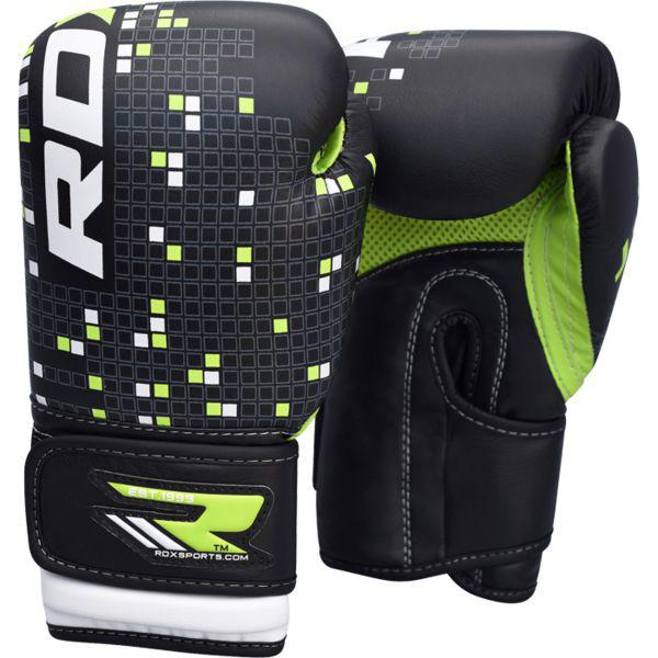 Купить Детские боксерские перчатки RDX BLACK/GREEN 6 oz (арт. 7941)