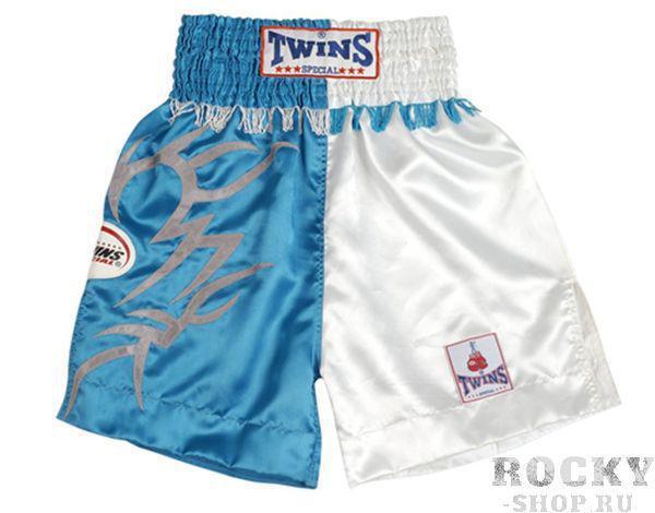 Боксерские шорты Twins Special, Синий/Белый Twins SpecialШорты для бокса<br>Подходят для тренировок по боксу, ММА и тайскому боксу. Обладают яркой привлекательной раскраской. Не сковывают движения. Материал - сатин.<br><br>Размер INT: Размер M