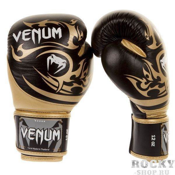 Купить Перчатки боксерские Venum Tribal Boxing Gloves - Black/Gold Nappa leather 12 унций (арт. 8199)