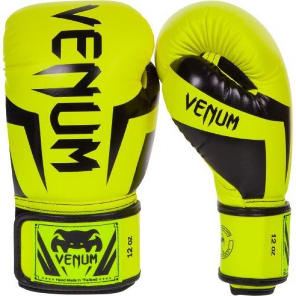 Перчатки боксерские Venum Elite Neo Yellow, 12 oz VenumБоксерские перчатки<br>Перчатки боксерские Venum Elite Neo Yellow изготовлены вручную из синтетической кожи Skintex – качество на высоте. Трехуровневая пена гасит ударную волну всякий раз, когда Вы делаете удар. Уникальный дизайн и цвет подходит для бойцов любого уровня. Усиленные швы и сетчатые панели в сочетании с эргономичной формой обеспечивают удобную посадку руки, создается ощущение, что перчатка и рука – единое целое. Оппонент будет чувствовать на себе элитную силу Ваших ударов. Особенности:Премиум кожа SkintexСетчатая панель под внутренней частью ладони для лучшей терморегуляцииТрехслойная внутренняя пенаУсиленная ладоньБольшой палец прилегает на 100%, что сокращает риск травматизмаУкрепленные швыШирокая эластичная липучка-застежкаДлинные манжеты для лучшей защиты запястьяРучная работа, Тайланд<br>