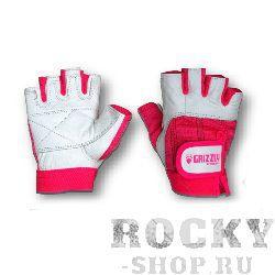 Перчатки для фитнеса, женские, Розово-белые GrizzlyПерчатки для фитнеса<br>Женские перчатки из мягкой, прочной кожи со вставками из спандекса.<br><br>Размер: Размер L