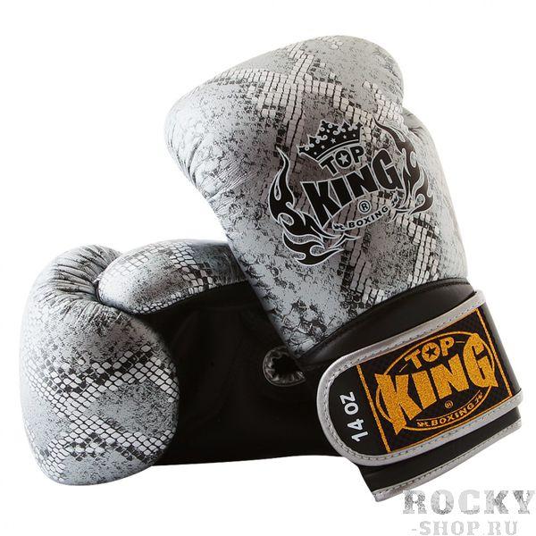 Перчатки боксерские Top King Ultimate Змея, 10 oz Top KingБоксерские перчатки<br>Черно-серебряные боксерские перчатки Top King Ultimate, стилизованные под змеиную кожу — качественные перчатки от ведущей компании-производителя экипировки для тайского бокса. Перчатки Top King Ultimate выполнены из натуральной кожи высшего качества, все перчатки делаются вручную. Внутри перчаток специальная защитная пена, которая поглощает удары, а удлиненная манжета обеспечивает дополнительную фиксацию запястья. Производство перчаток — Таиланд.<br><br>Цвет: бело-золотой/white-gold