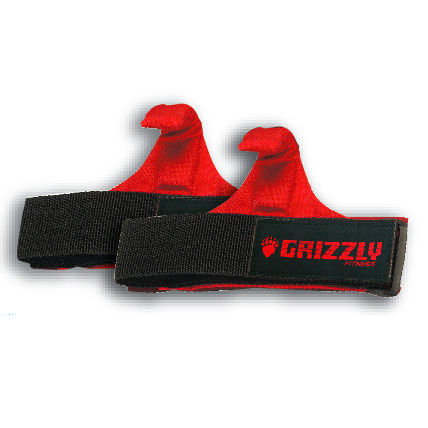 Купить Ремни для тяги с крюком, Чёрный/красный Grizzly (арт. 8469)