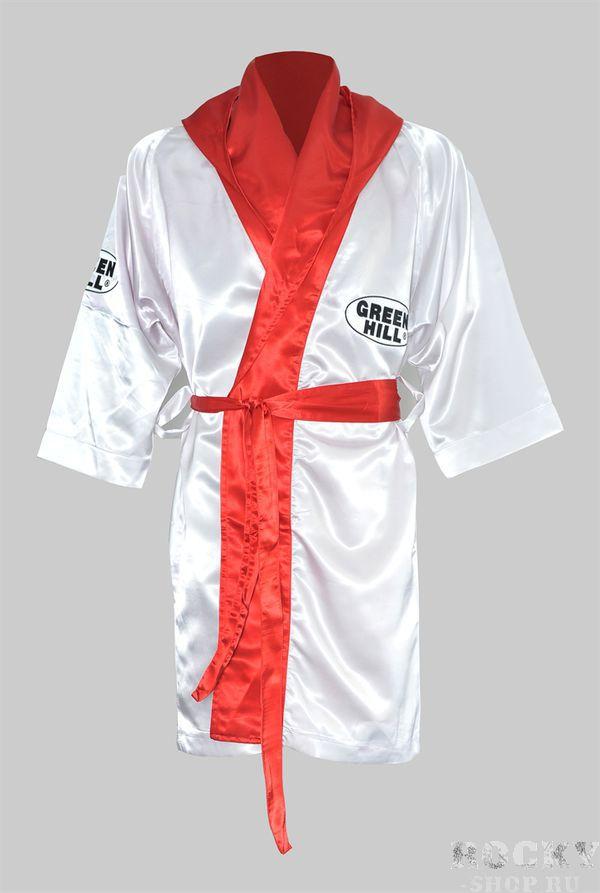 Халат боксерский с капюшоном, Белый Green HillБоксерские халаты<br>Материал: ПолиэстерВиды спорта: БоксКомпанияGreen Hill производит лучшие кимоно для джиу-джитсу по всему миру. Среди многих кимоно для джиу-джитсу, конструкции костюмов Green Hill, приобрели огромную популярность в бразильском джиу джитсу.<br>
