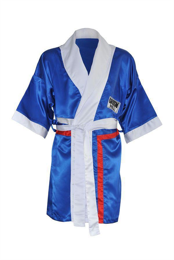 Халат боксерский с капюшоном, Синий Green HillБоксерские халаты<br>Материал: ПолиэстерВиды спорта: БоксХалат боксера . Традиционная одежда для боксеров, в которой спортсмены выходят на ринг. Легкий и просторный халат пригодится как новичкам так и профессионалам.<br>