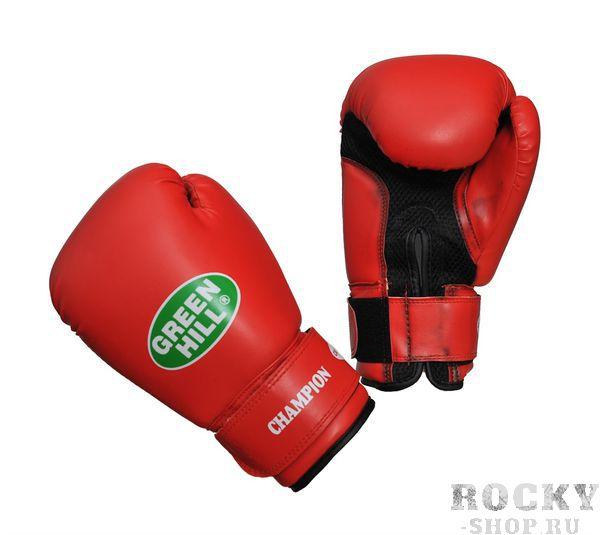 Боксерские перчатки Green Hill CHAMPION, 12oz Green HillБоксерские перчатки<br>Материал: Искусственная кожаВиды спорта: БоксВерх сделан из синтетической кожи, ладонь из замши со вставкой из прочной сетки. Перчатка хорошо проветривается благодаря системе воздухообмена. Манжет на «липучке».<br><br>Цвет: Красный