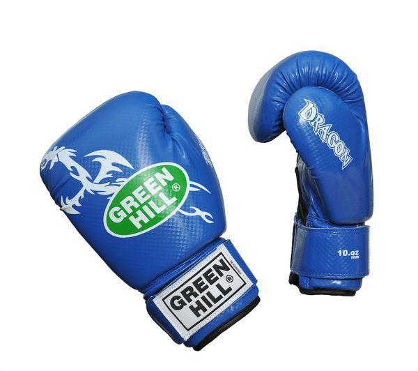 Боксерские перчатки Green Hill DRAGON, 10oz Green HillБоксерские перчатки<br>Материал: Искусственная кожаВиды спорта: БоксПерчатки из качественной искусственной кожи, имеют немного блестящую поверхность. Аналог перчаток Silver. Отлично подходят для тренировок и спаррингов. Оригинальный дизайн особенно понравится юным спортсменам.<br>