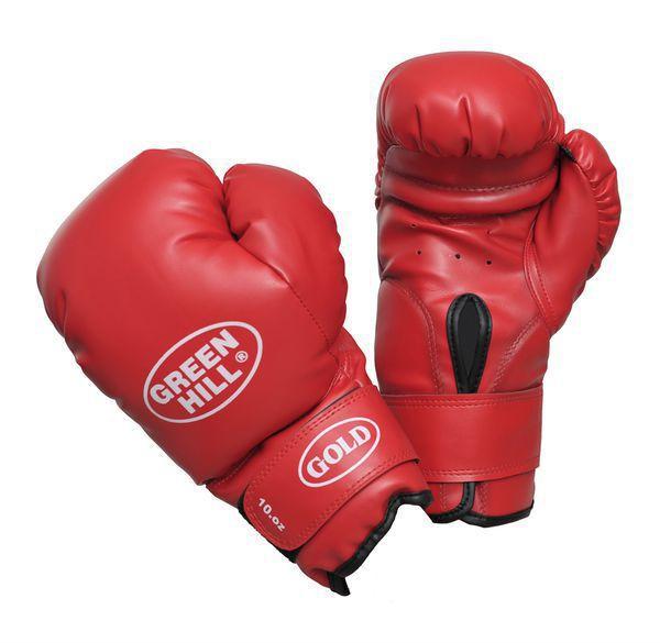 Боксерские перчатки Green Hill GOLD, 12oz Green HillБоксерские перчатки<br>Материал: Искусственная кожаВиды спорта: БоксБоксерские тренировочные перчатки Gold. Верх сделан из синтетической кожи. Манжет на липучке. Мягкий наполнитель. Уровень защиты выше среднего.<br><br>Цвет: Красный