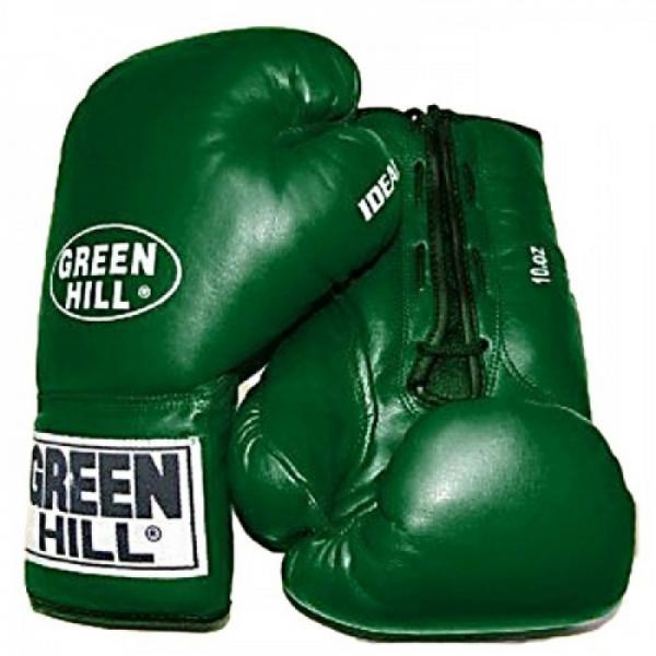 Боксерские перчатки Green Hill IDEAL, 10oz Green HillБоксерские перчатки<br>Материал: Натуральная кожаВиды спорта: БоксДанная модель (IDEAL) прекрасно подходит для соревнований любого уровня по боксу. Верх выполнен из натуральной кожи. Фиксируются шнуровкой, обеспечивая плотную посадку перчаток.<br><br>Цвет: Зеленый