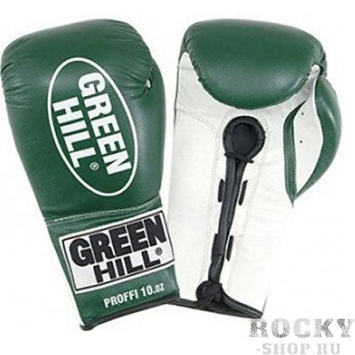 Боксерские перчатки Green Hill PROFFI, 14oz Green HillБоксерские перчатки<br>Материал: Натуральная кожаВиды спорта: БоксБоксерские перчатки Proffi. Верх сделан из натуральной кожи. Манжет на шнуровке.<br><br>Цвет: Зеленый