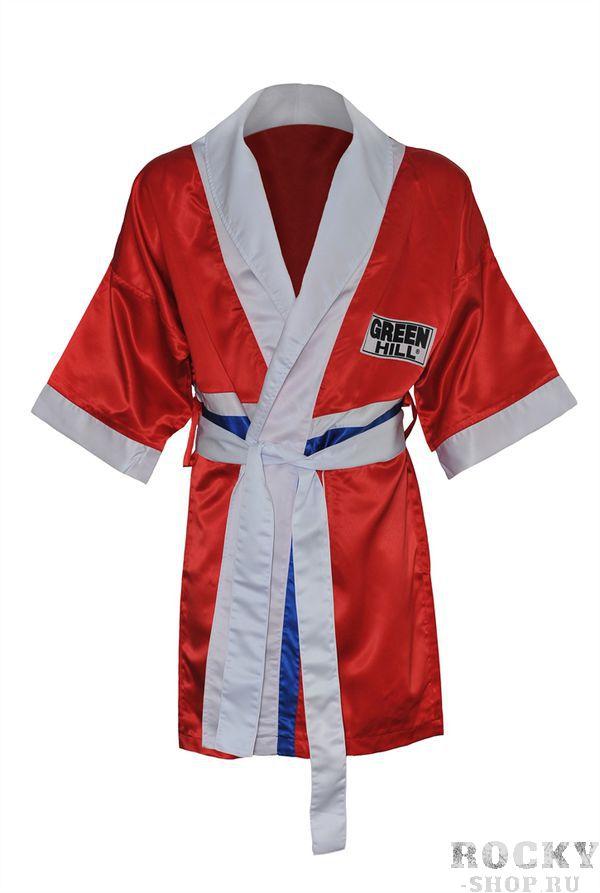 Халат боксерский с капюшоном, Красный Green HillБоксерские халаты<br>Материал: ПолиэстерХалат боксера . Традиционная одежда для боксеров, в которой спортсмены выходят на ринг. Легкий и просторный халат пригодится как новичкам, так и профессионалам.<br><br>Размер INT: M