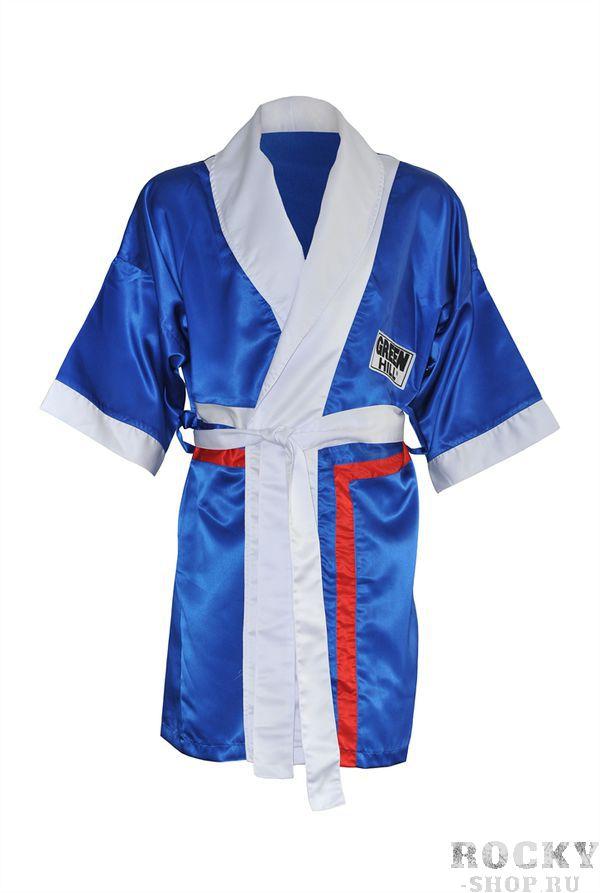 Халат боксерский с капюшоном, Синий Green HillБоксерские халаты<br>Материал: ПолиэстерХалат боксера . Традиционная одежда для боксеров, в которой спортсмены выходят на ринг. Легкий и просторный халат пригодится как новичкам, так и профессионалам.<br><br>Размер INT: M