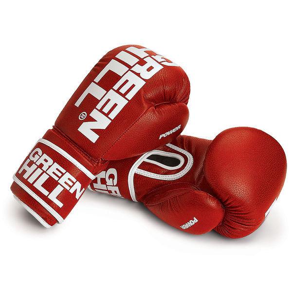 Боксерские перчатки Green Hill POWER, 12oz Green HillБоксерские перчатки<br>Материал: Искусственная кожаБоксерские перчатки. Материал: искусственная кожа. Манжет на липучке.Современный дизайн , хорошая толщина наполнения обеспечит защиту на тренировках.<br>