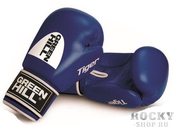 Перчатки боксерские TIGER (c новым логотипом), 14 oz Green HillБоксерские перчатки<br>Боевые боксерские перчатки Tiger. Верх сделан из натуральной кожи, вкладыш- предварительно сформированный пенополиуретан. Манжет на «липучке».В перчатках применяется технология Антинакаут. Перчатки применяются как для соревнований так и для тренировок. Без выделенной белой части.<br>