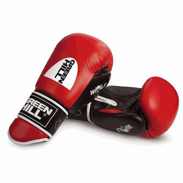 Перчатки боксерские WOLF , 16 oz Green HillБоксерские перчатки<br>Сделаны из натуральной кожиУдлиненный манжет на липучке.<br><br>Цвет: красные/чёрные