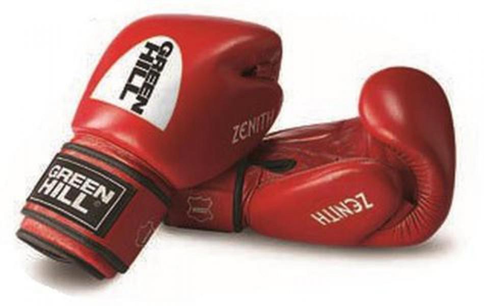 Перчатки боксерские ZENITH, 14 oz Green HillБоксерские перчатки<br>Материал: Натуральная кожаНовая модель тренировочных боксерских перчаток для тайского бокса и кикбоксинга из натуральной кожи. Предварительно сформированный вкладыш. Большой палец пришит. Манжета на липучке шириной 12 см четко фиксирует запястье, снижая риск получения травмы.<br><br>Цвет: Красный