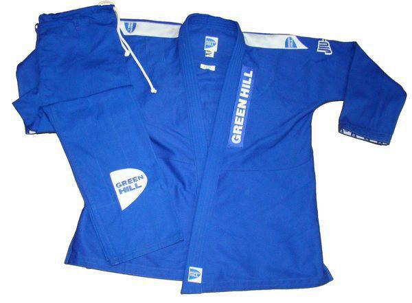Кимоно джиу-джитсу CLUB, Синий Green HillЭкипировка для Джиу-джитсу<br>Материал: ХлопокВиды спорта: Джиу-джитсуКимоно для занятий джиу-джитсу.Материал 100% хлопок. Комплект включает куртку, брюки и пояс.<br>