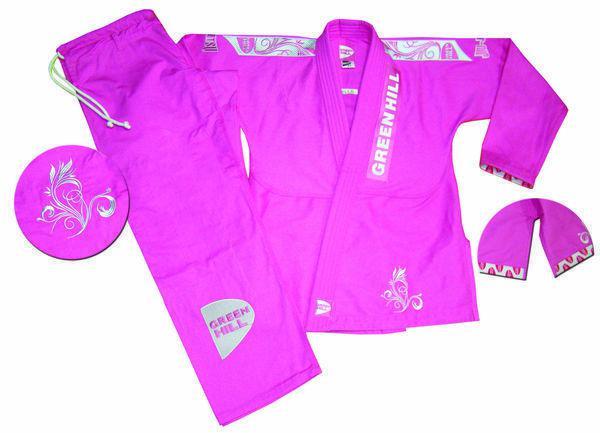 Женское кимоно джиу-джитсу WOMEN ELA, Розовый Green HillЭкипировка для Джиу-джитсу<br>Материал: ХлопокВиды спорта: Джиу-джитсуКимоно для джиу-джитсу.Отлично подходит для ежедневных тренировок.Материал: 100% хлопокКомпания Green Hill производит лучшие кимоно для джиу-джитсу по всему миру. Среди многих кимоно для джиу-джитсу, конструкции костюмов Green Hill, приобрели огромную популярность в бразильском джиу джитсу.В комплект входит:- куртка,- брюки.РазмерыF1 (штаны длина 75 см, обьем 90 см; длина рукава 51 см, длина куртки до ворота 63 см)F2 (штаны длина 81 см, обьем 94 см; длина рукава 54 см, длина куртки до ворота 65 см)F3 (штаны длина 89 см, обьем 98 см; длина рукава 58 см, длина куртки до ворота 68 см)F4 (штаны длина 90 см, обьем 106 см; длина рукава 60 см, длина куртки до ворота 72 см)<br>
