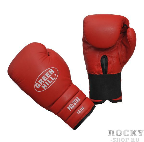Боксерские перчатки pro star, кожа, 12 oz Green HillБоксерские перчатки<br>Тренировочные перчатки PRO STAR отлично подходят для работы в спаррингах. Верх сделан из натуральной кожи, что обеспечивает долговечность перчаток. Манжет удлиненный-сегментированный, на резинке.<br><br>Цвет: красные