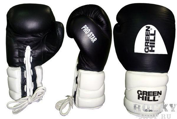 Боксерские перчатки PRO STAR, кожа, 16 oz Green HillБоксерские перчатки<br>Тренировочные перчатки PRO STAR отлично подходят для работы в спаррингах. Верх сделан из натуральной кожи, что обеспечивает долговечность перчаток. Манжет удлиненный-сегментированный, на резинке.<br><br>Цвет: черный