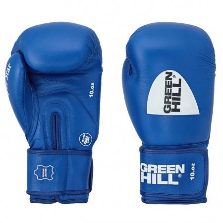 Боксерские перчатки super star одобренные aiba, 12 oz Green HillБоксерские перчатки<br>Перчатки из натуральной кожи для кикбоксинга, одобреные AIBA.<br><br>Цвет: синий