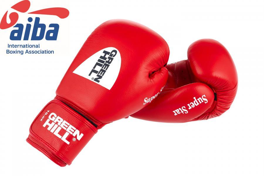Боксерские перчатки Super Star одобренные AIBA, 10 oz Green HillБоксерские перчатки<br>Перчатки из натуральной кожи для кикбоксинга, одобреные AIBA.<br><br>Цвет: синий