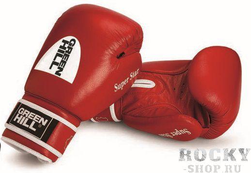 Боксерские перчатки Super Star с новым логотипом, 14 oz Green HillБоксерские перчатки<br>Боевые боксерский перчатки SUPER STAR. Сделаны из натуральной кожи. Боксерские перчатки SUPER STAR это перчатки для профессионалов. Они подойдут для спаррингов и соревнований. Крепление на липучке, позволит быстро надевать и удобно фиксировать перчатку на руке.<br><br>Цвет: красный