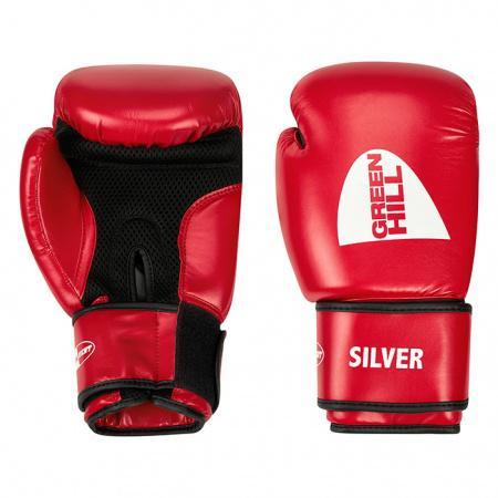 Перчатки боксерские SILVER, 10 oz Green HillБоксерские перчатки<br>Боксерские тренировочные перчатки Silver . Сделаны из высококачественного кожзаменителя. Ладонь выполнена по технологии, которая позволяет руке дышать. Оптимальный вариант для легких спарингов и тренировок.<br><br>Цвет: красный