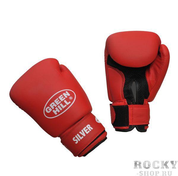 Перчатки боксерские SILVER, 6 oz Green HillБоксерские перчатки<br>Боксерские тренировочные перчатки Silver . Сделаны из высококачественного кожзаменителя. Ладонь выполнена по технологии, которая позволяет руке дышать. Оптимальный вариант для легких спаррингов и тренировок.<br><br>Цвет: красный