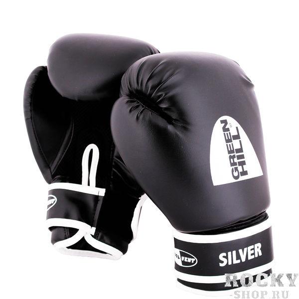 Перчатки боксерские silver, 8 oz Green HillБоксерские перчатки<br>Боксерские тренировочные перчатки Silver . Сделаны из высококачественного кожзаменителя. Ладонь выполнена по технологии, которая позволяет руке дышать. Оптимальный вариант для легких спаррингов и тренировок.<br><br>Цвет: черный