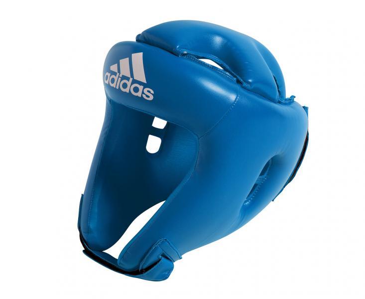 Шлем боксерский Competition Head Guard, синий AdidasБоксерские шлемы<br>Шлем боксерский Competition Head Guard. Боевой шлем adidasCompetition- шлем предназначен, как для взрослых спортсменов, так и для детей. ШлемCompetitionэффективно защищает голову спортсмена, имеет повышенную защиту теменной области головы. Шлем боксерский Competition Head Guardизготовлен из PU3GINNOVATION,мягкого и прочного материала, который выглядит, как кожа, и при этом нечувствителен к колебаниям температуры и влажности. Так же в шлеме используется технологию I-PROTECH®, которая характеризуется особой конструкцией пены внутри шлема, она дополнительно поглощать удары и вибрации, проходящие на голову спортсмена. Широкая 10 см. застежка-липучка на затылочной части шлема ирегулируемый ремень/липучка на подбородкепозволяет быстро и точно отрегулировать посадку. Материал: 100% полиуретан.  Технология PU3GINNOVATION®.  Технология I-Protech ®.  Повышенная защита теменной области.  Широкая 10 см. застежка-липучка.  Материал: 100% полиуретан.<br><br>Размер: S
